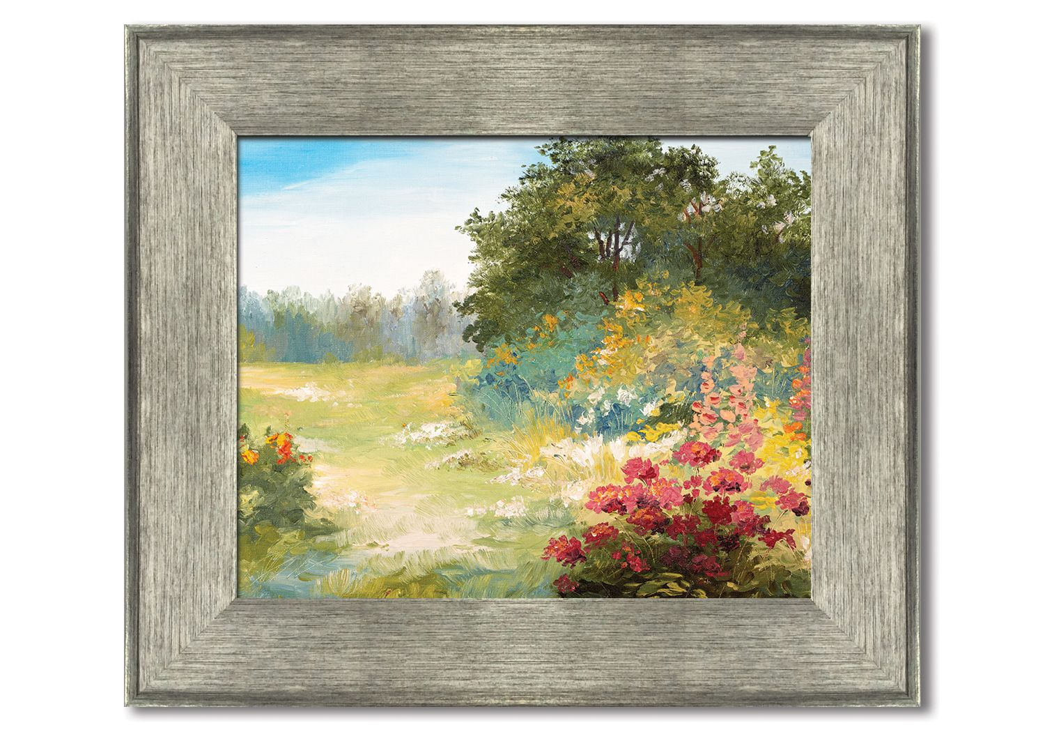 silver gray wood look framed print