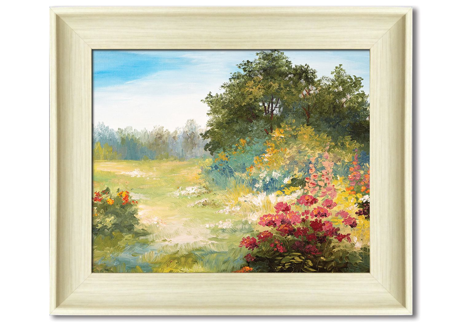natural faux wood framed print